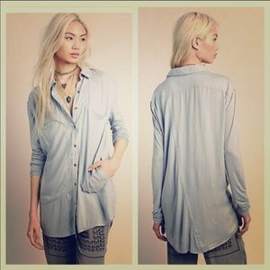 Free People Tunic Oversized Button Up Solid Black